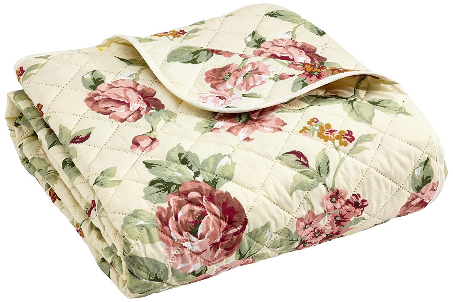 Eurofirany Patchwork Bedspread Ania Reversible Modern Quilt Easy Care Throw with Floral Print, Creamy, 220 x 240 cm Import CHON/P/ANIA/MIX/220