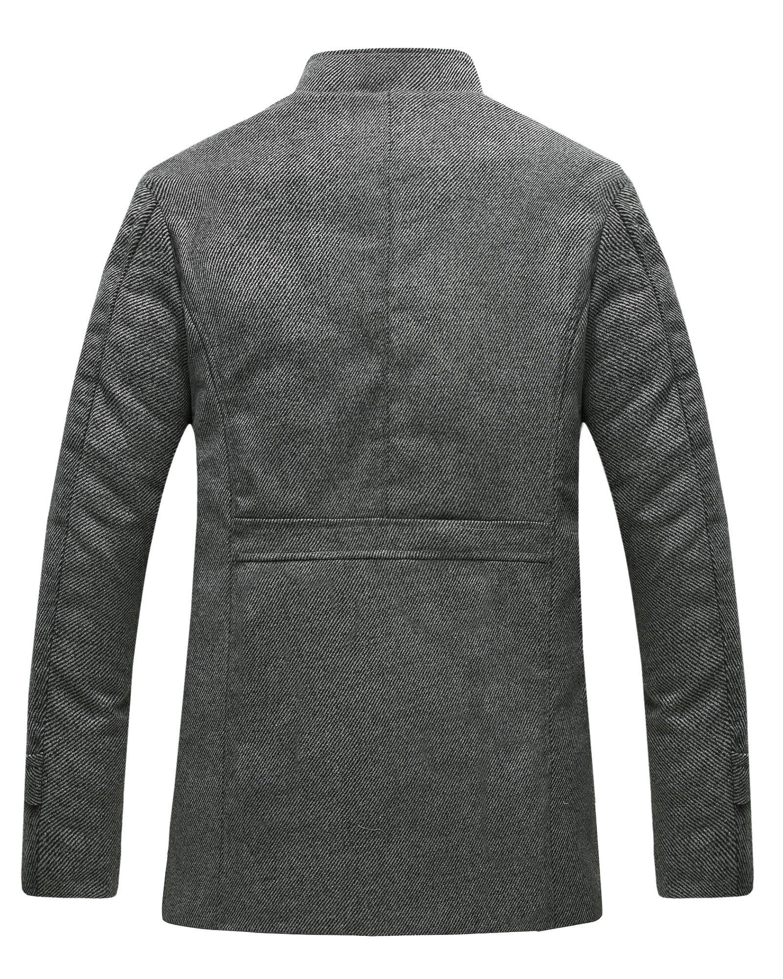 Wantdo Men's Wool Coat Stand Collar Windproof Jacket Overcoat Grey Large by Wantdo (Image #2)