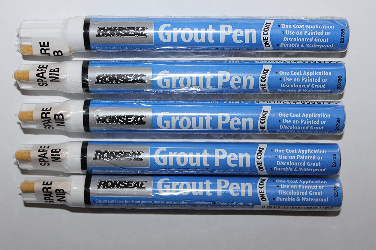 5 x Ronseal RSLEF500 7ml One Coat Grout Pen - Brilliant White