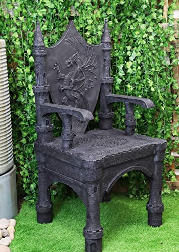 Best living room chair: Ebros Gift 48″ Tall Life Sized Fantasy Dragon Coat of Arms Heraldry Crest Throne Chair Furniture Kings Landing Castle Seat of The Khaleesi Mother of Dragons