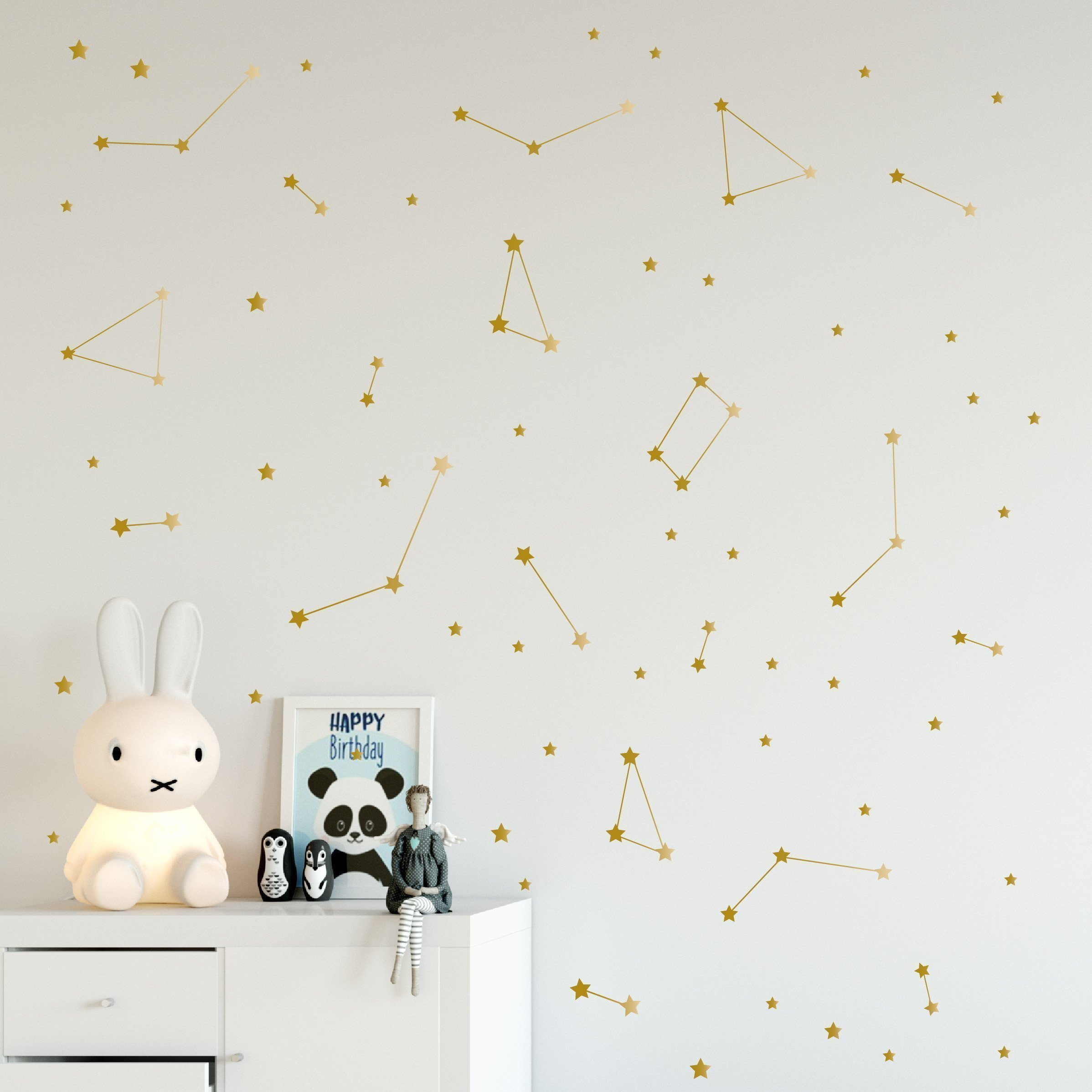 Gold Constellation Wall Decals, Removable Space Nursery Vinyl Stickers, Milky Way Stars, 96 elements