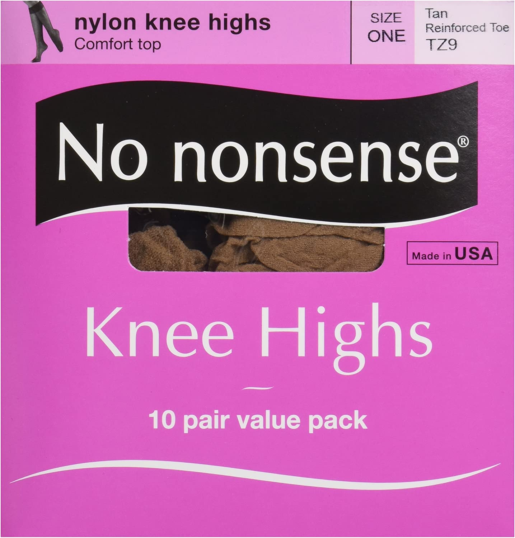 No Nonsense Women's Reinforced Toe Knee-Highs, 10 Pair Value Pack
