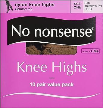 10 Pair Pack No Nonsense Womens Sheer Toe Knee Highs