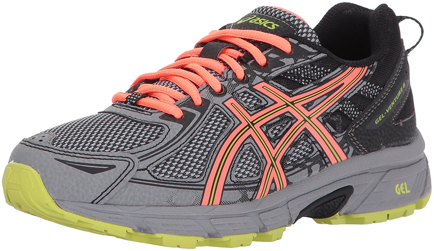 ASICS Women's Gel-Venture 6 Running-Shoes US|Phantom/Coral/Lime B01MRWWRXJ 11 D US|Phantom/Coral/Lime Running-Shoes 043753