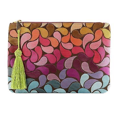 Otto Angelino Sobre de diseño - Bolso de mano - Pequeño bolso de mujer tejido con borla - Espacio para tarjetas de crédito y monedero - Ultradelgado y ...