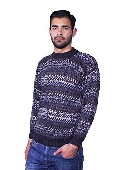 abedae2d129e Raymis Alpaca Wool Hand Knitted Geometric Men´s Round Neck Peruvian ...