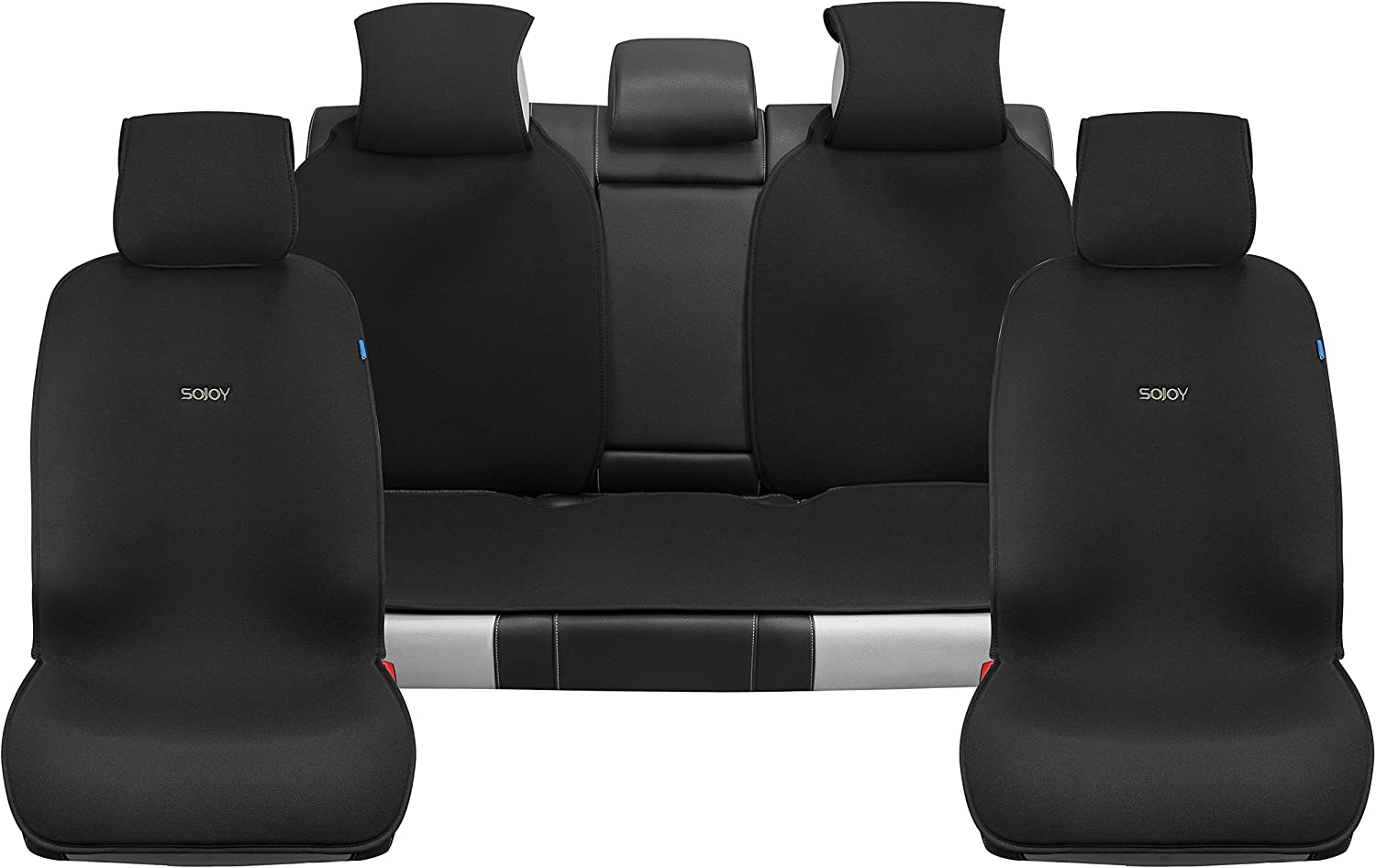 Sojoy Universal Four Seasons Full Set of Car Seat Cover and Cushions Classic Black