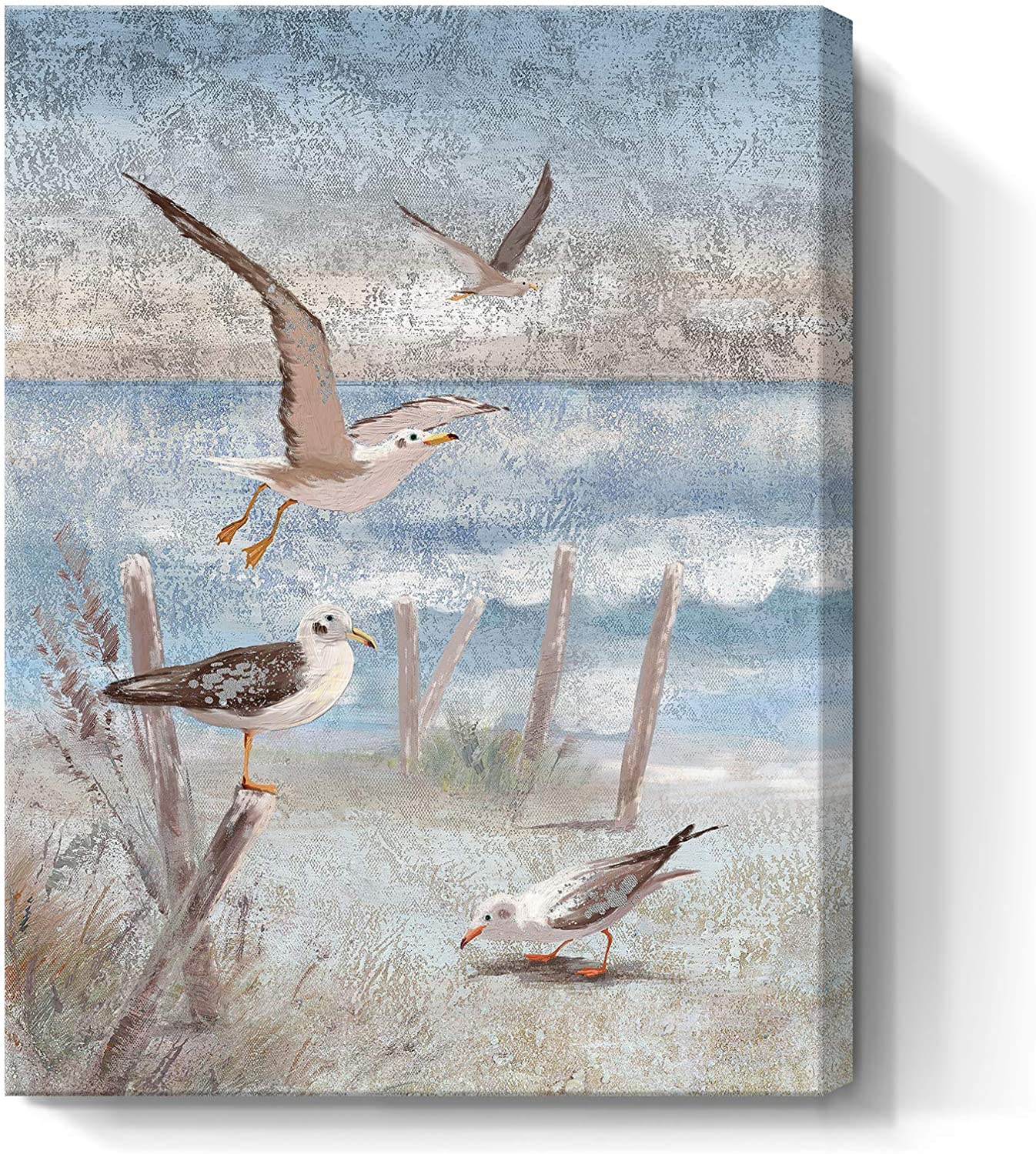 Beach Wall Art Bathroom Decor Ocean Theme Canvas Print Coastal Painting Perching Bird by The Sea Shore Abstract Seascape Picture Framed Artwork for Bedroom Living Room Office Ready to Hang 12x16inch