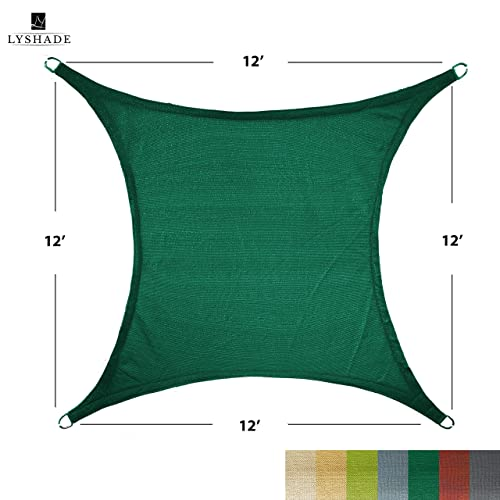 LyShade 12 x 12 Square Sun Shade Sail Canopy Dark Green – UV Block for Patio and Outdoor