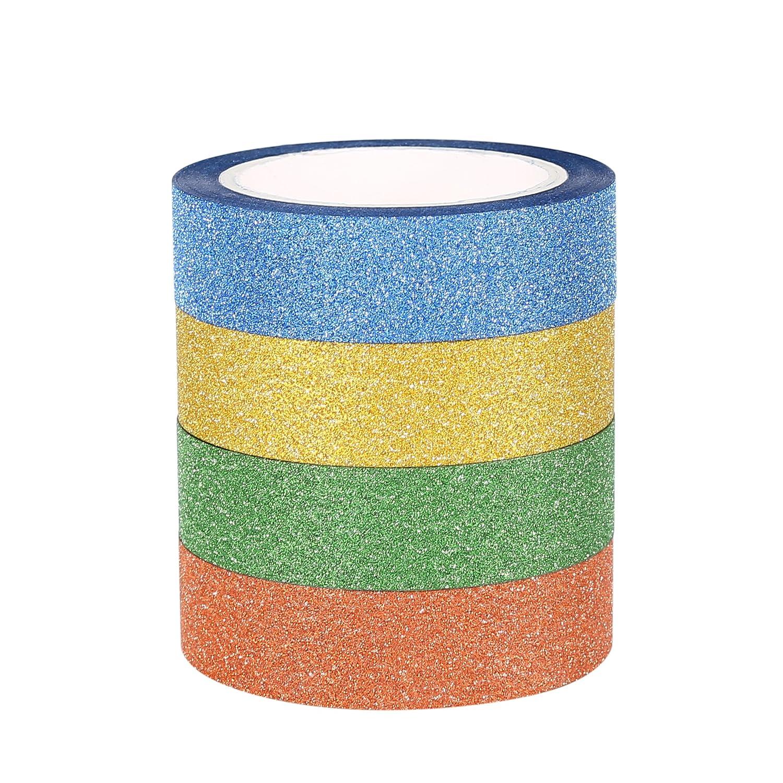 ST tape Glitter Washi Tape-Nastro Decorativo Glitterato, 15mm x 9.14m Ciascuno, Set di 4 STW-1504
