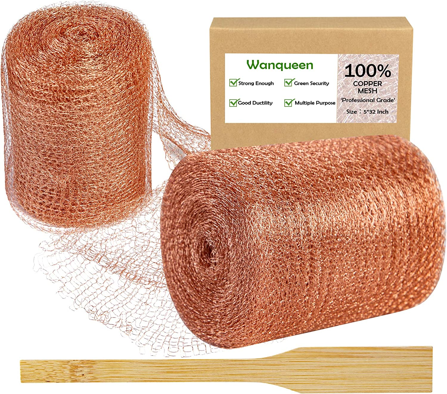 Wanqueen Copper Mesh Roll with Packing Tool, Sturdy 32 Feet Copper Fill Fabric, Copper Blocker Knitted for Distilling, Snail Birds Mouse Rat Rodent Control