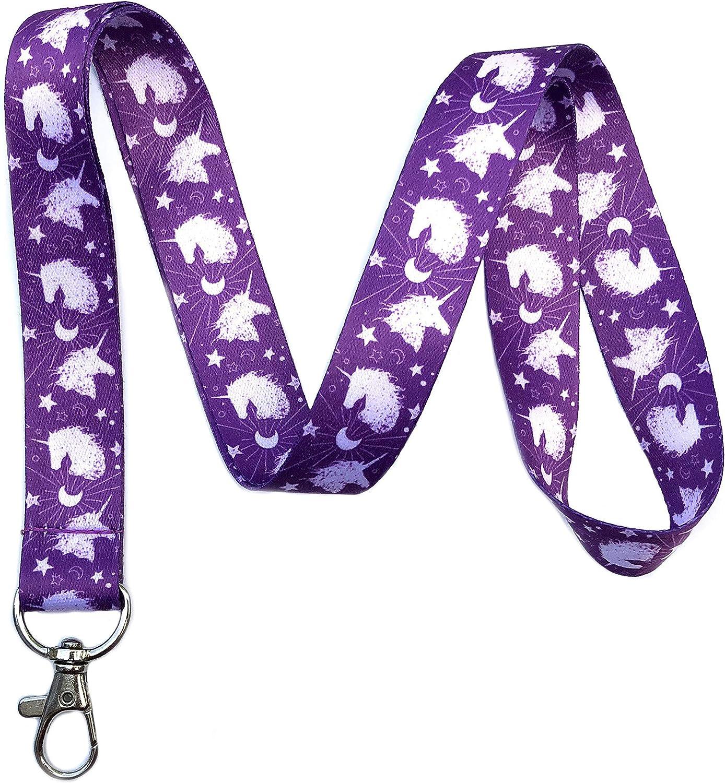 Purple Unicorn Print Lanyard Key Chain Id Badge Holder
