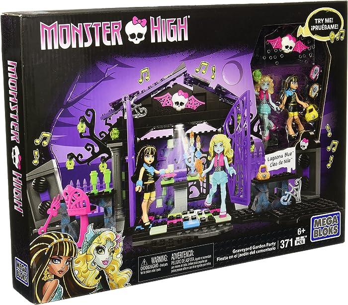 Mega Bloks Toy - Monster High Graveyard Garden Party 371 Piece Playset Cleo de Nile Lagoona Blue