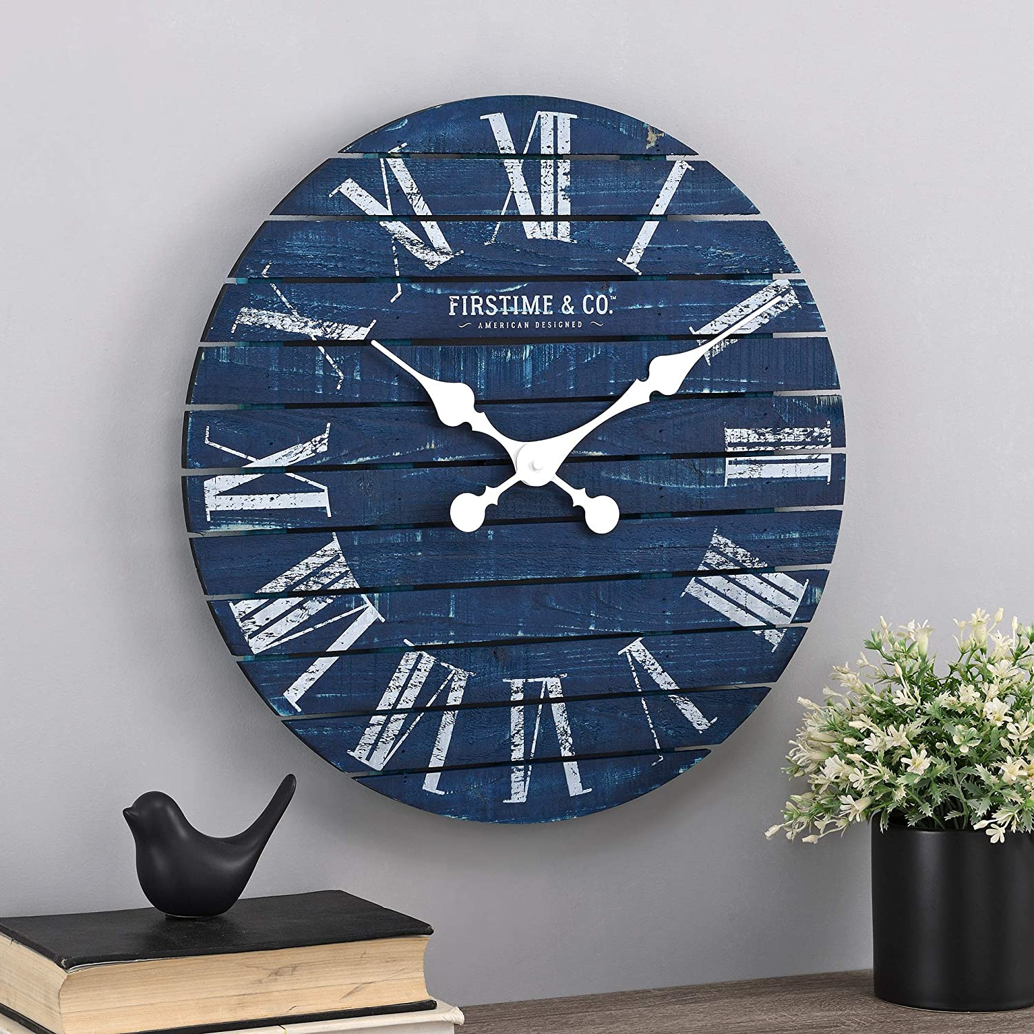 FirsTime & Co. Navy Augustus Farmhouse Shiplap Clock, American Designed, Navy, 18 x 2 x 18 inches