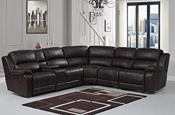 Pulaski Charlotte Reclining Faux Leather Sectional, Roman Chocolate