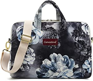 Canvaslove 13 inch Grey Flower Waterproof Laptop Shoulder Messenger Bag Case for MacBook Retina 12 inch,MacBook Pro 13 inch,iPad Pro 12.9 inch,Macbook Air 13 and 11 inch 12.5 inch 13.3 inch Laptop