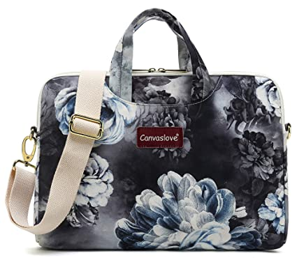2910d4e5a14b Canvaslove 15 Inch Grey Flower Waterproof Laptop Shoulder Messenger Bag  Case for MacBook Pro 15 and 14 inch 15.6 inch Laptop