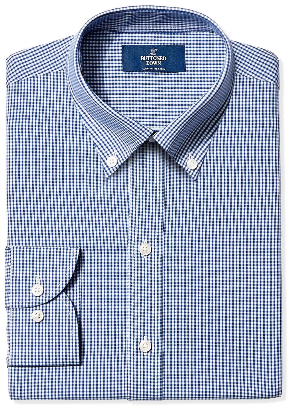 Buttoned Down Men's Slim Fit Button-Collar Non-Iron Dress Shirt, Blue Gingham, 17'' Neck 36'' Sleeve