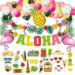 Hawaiian Aloha Party Decorations,Laua Tropical Party Supplies Set include Aloha Banner,Latex Ballon Set,Flamingo PineappleFoil Balloons and Laua Photo Booth Props