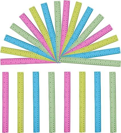Reglas (Pack de 24) - Reglas de Colores Transparentes de 30cm - Reglas de Plástico Milímetro, Centímetro y