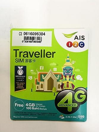Amazon.com: AIS Tailandia Traveller Tarjetas SIM 4 GB Non ...
