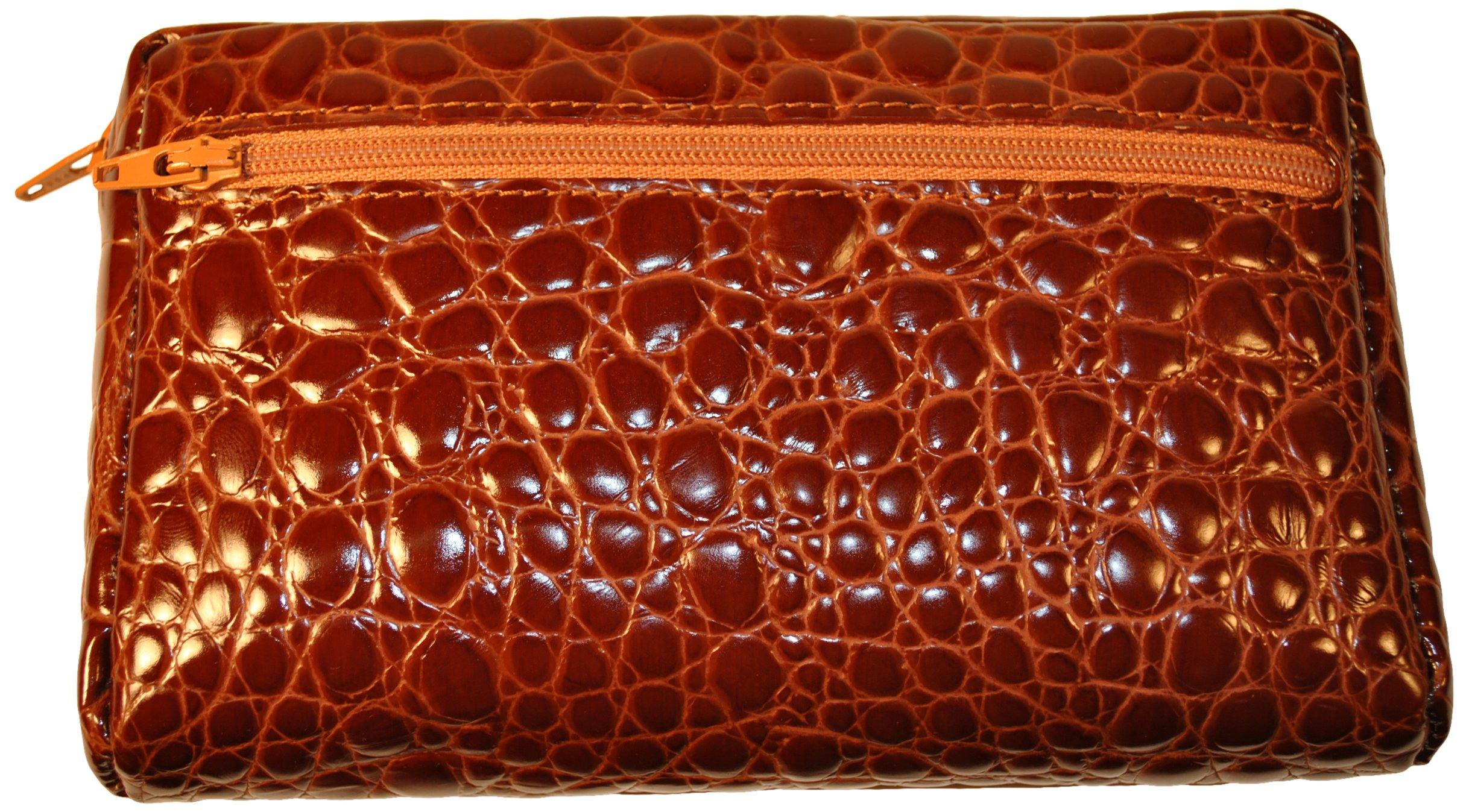 Budd Leather Croco Bidente Cosmetic Case, Cognac by Budd Leather