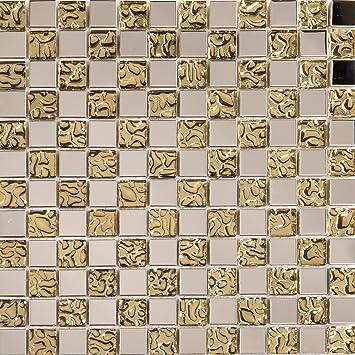 MT0123 Glas Mosaik Fliesen Matte in Rot Texturiert Lava Baustein Effekt