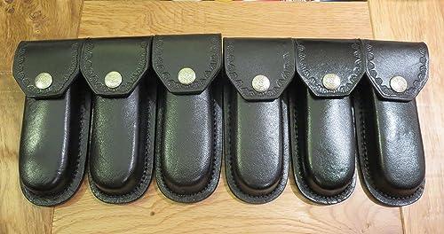 Rite Edge Lot of 6 New Leather 5 Folding Knife sheaths – case – Heavy Duty Black