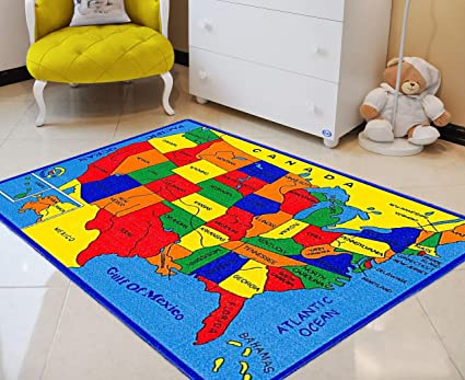 Amazon Com Handcraft Rugs United States Map Educational Kids Rugs