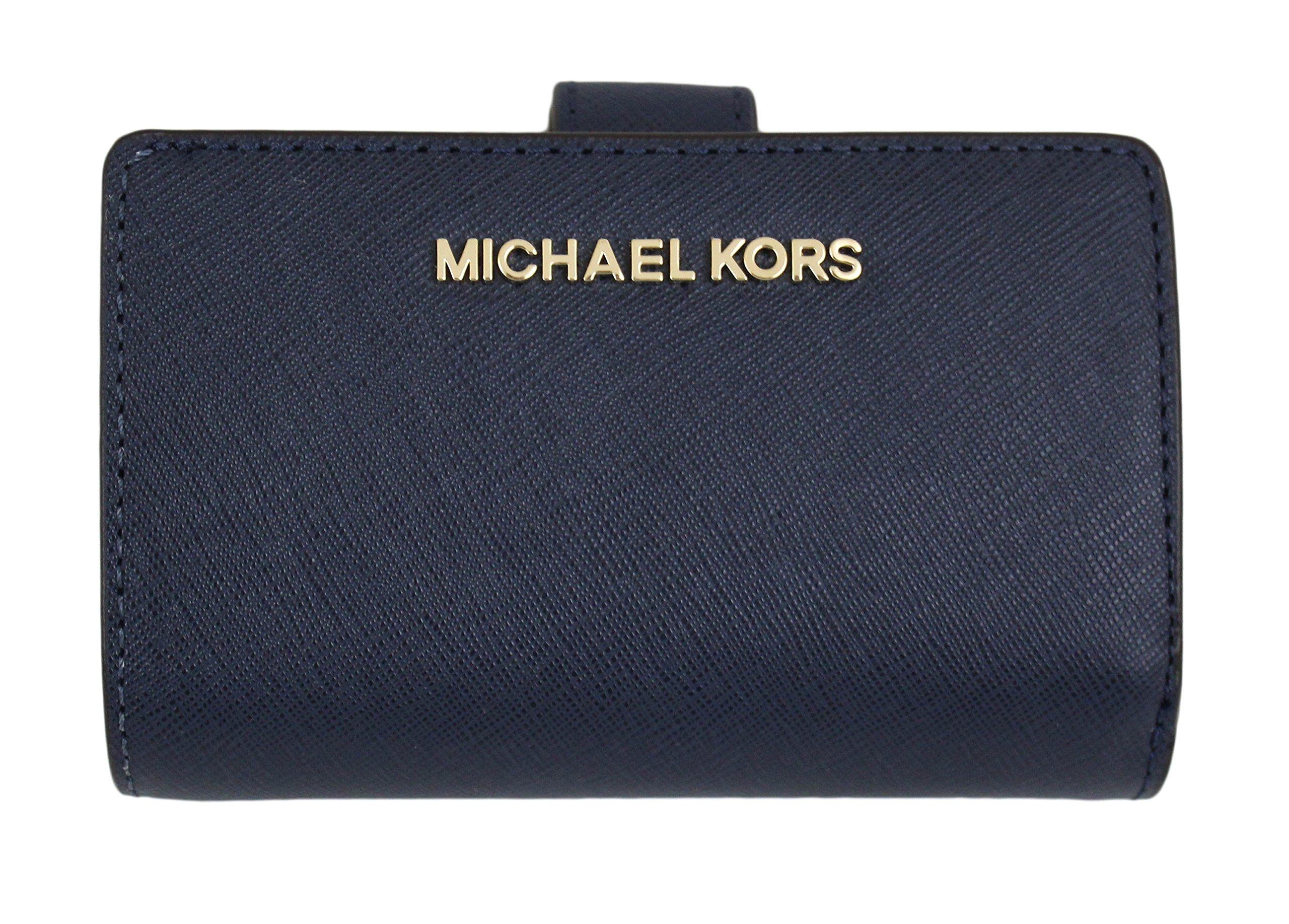 MICHAEL Michael Kors Jet Set Travel Bifold Zip Coin Wallet (Navy) by Michael Kors