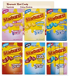 Starburst Singles to Go Variety Pack  1 Box Each of 5 Flavors - Blue Raspberry All Pink Strawberry, Fruit Punch, Cherry and Lemon   Bundled with Ballard Hard Candy Recipe Card and Bonus Starburst Flavor