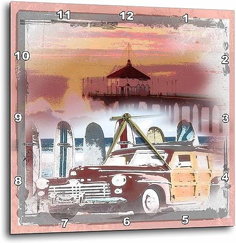 3dRose dpp_60101_3 Manhattan Beach California Woody and Surfboard Art-Wall Clock, 15 by 15-Inch