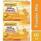 Emergen-C Vitamin C 1000mg Powder (60 Count, Tangerine Flavor, 2 Month Supply), With Antioxidants, B Vitamins And Electrolytes, Dietary Supplement Fizzy Drink Mix, Caffeine Free