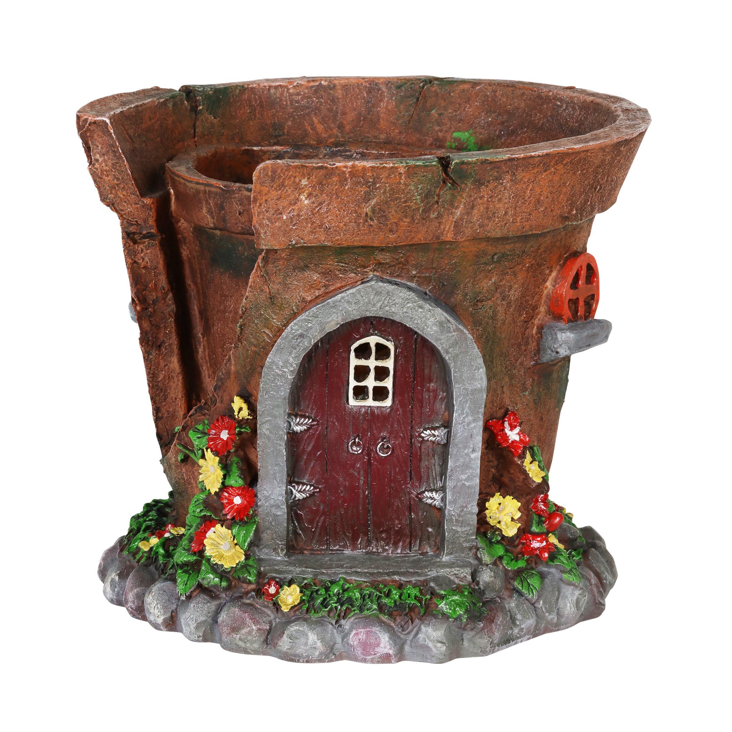 Exhart Gardening Gifts – Fairy House Flower Pot – Pot/Planter w/Solar Garden Lights, Outdoor Use, Fairy Themed Garden Décor, Weather Resistant Resin Statues