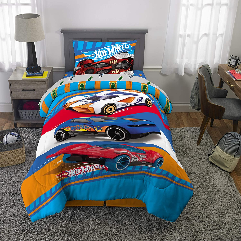 Hot Wheels Cars Boys Reversible Twin Comforter, Sheets & Bonus Sham (5 Piece Bed in Bag) + Homemade Wax Melts
