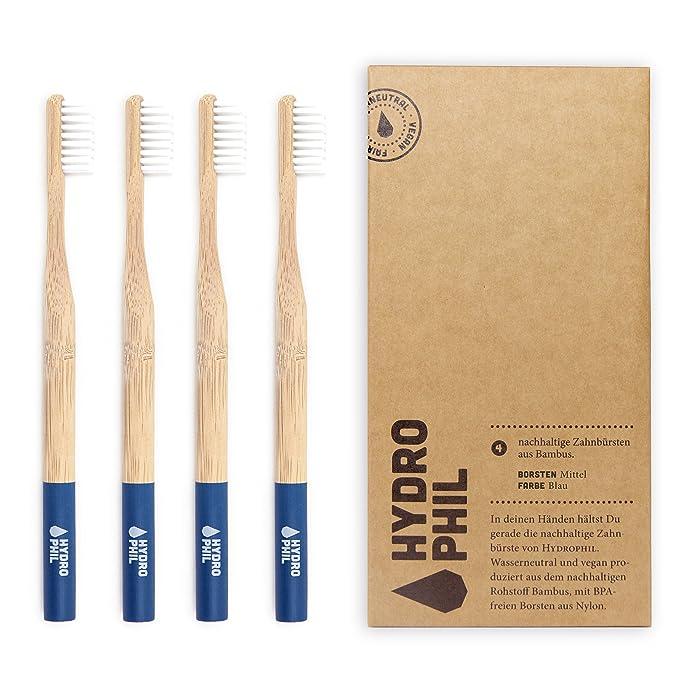 Hydro Phil SOSTENIBLE Cepillo de dientes de bambú azul suave (4 ...