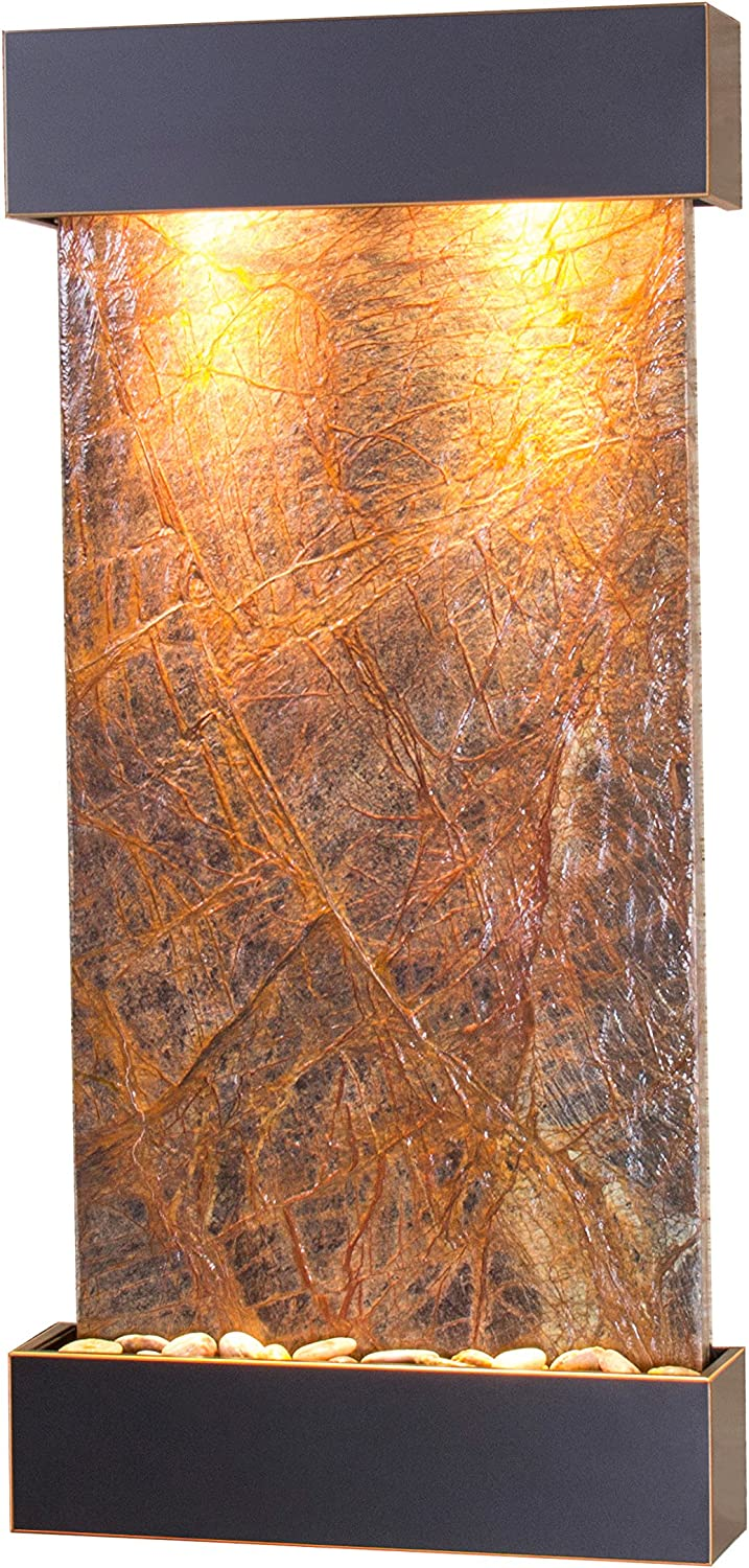Whispering Creek Water Feature with Blackened Copper Trim and Square Edges (Natural Green Slate): Home & Kitchen
