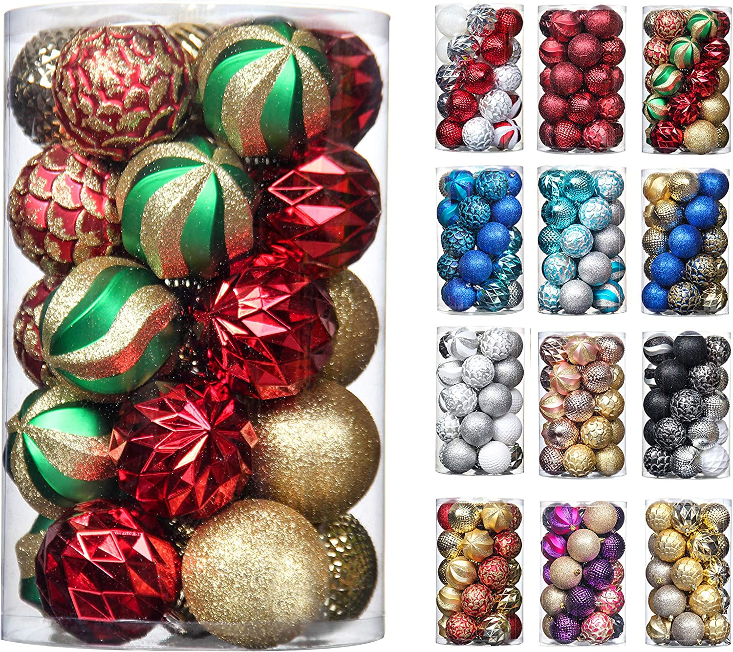 31pcs 70mm & 50mm Christmas Decoration Balls Shatterproof Colorful Set Ornaments Balls for Festival Wedding Home Party Decors Xmas Tree Hanging (Red & Gold & Green )