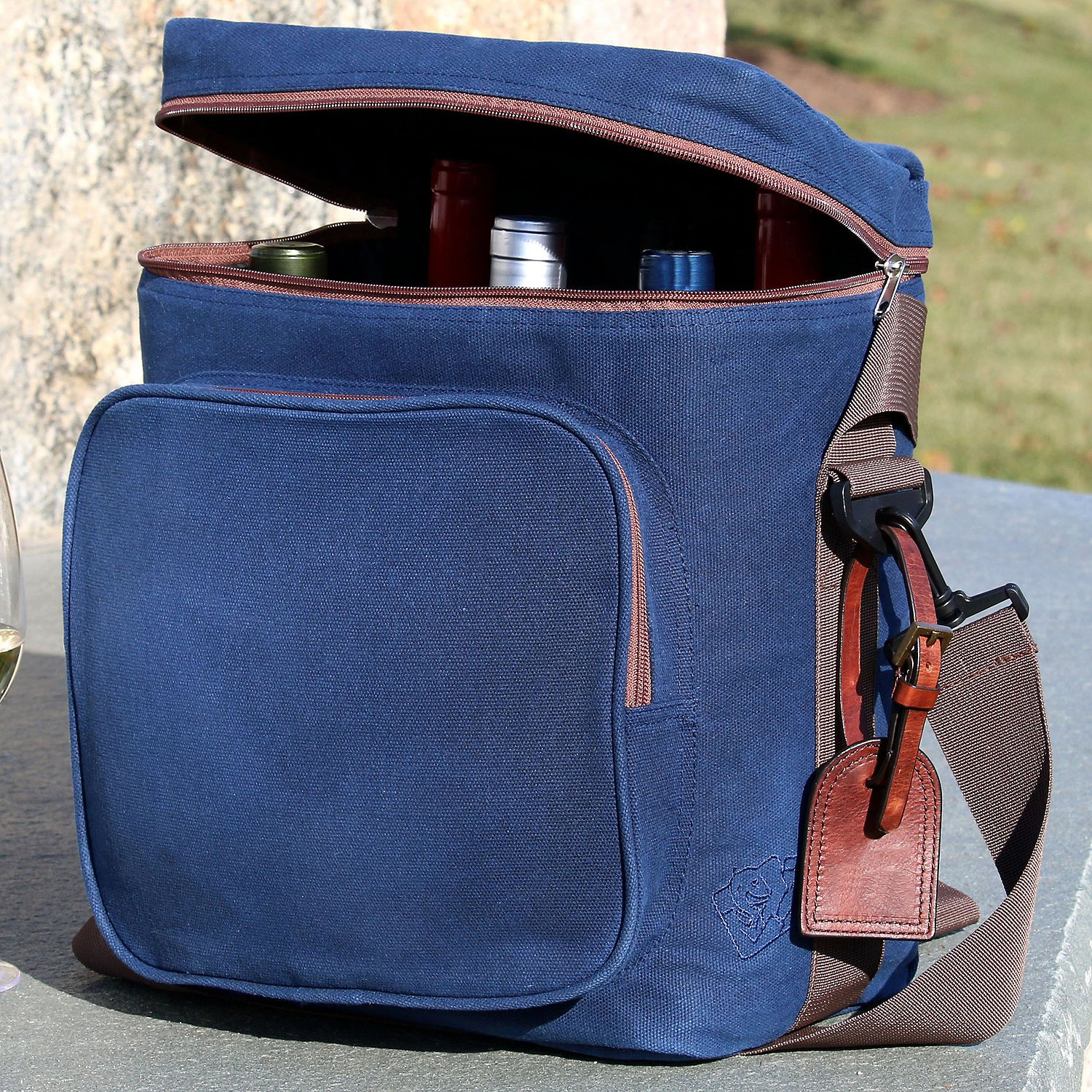 Wine Enthusiast 6-Bottle Wine Bag - Waxed Canvas Weekend Wine Carrier, Blue