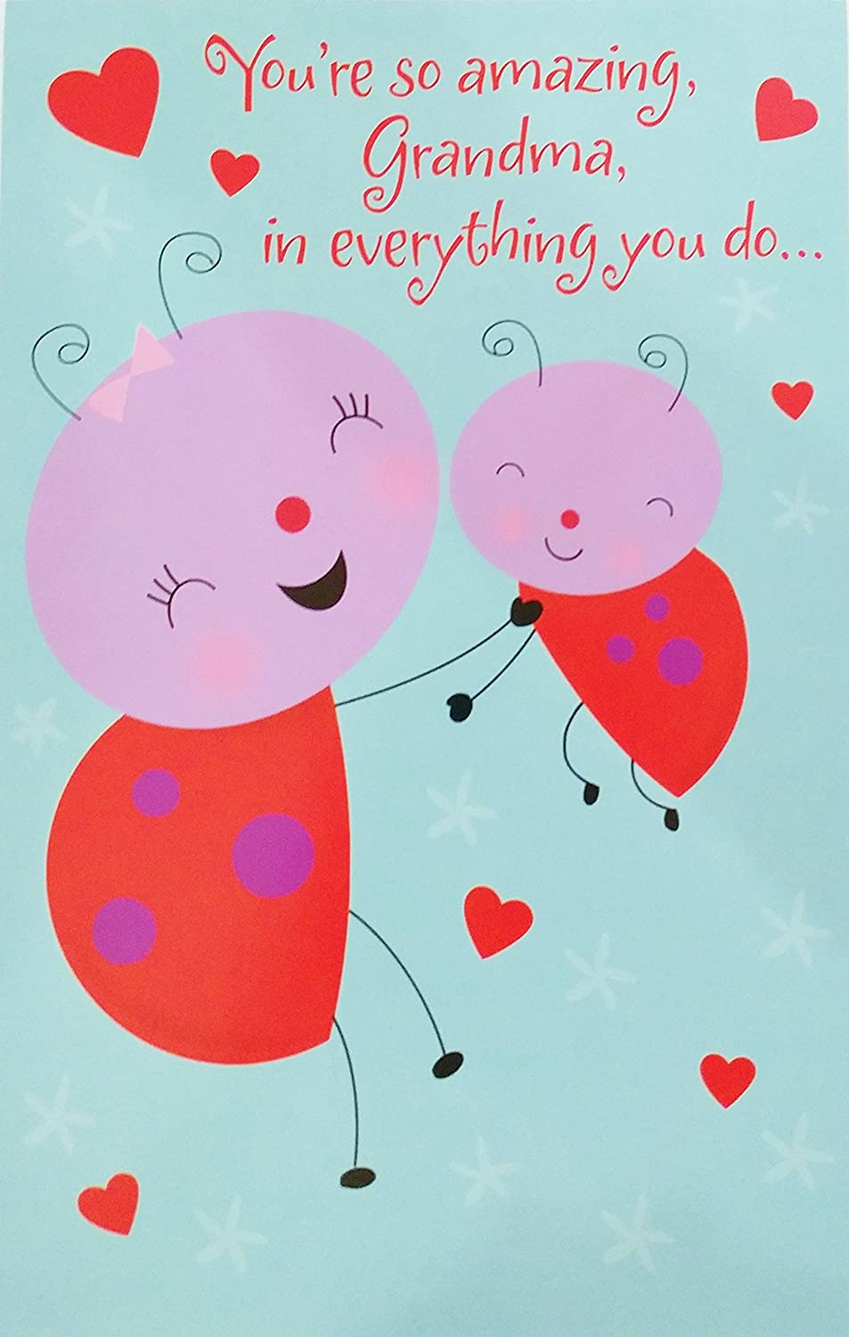 Amazon Com Youre So Amazing Grandma In Everything You Do Happy Valentines Day Greeting Card W Ladybugs For Grandmother Office Products