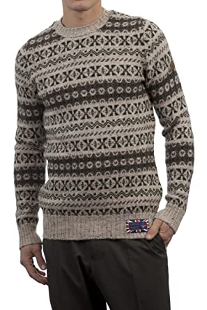 Hawick Knitwear Men's 100% British Wool Fairisle Crew Neck Jumper ...