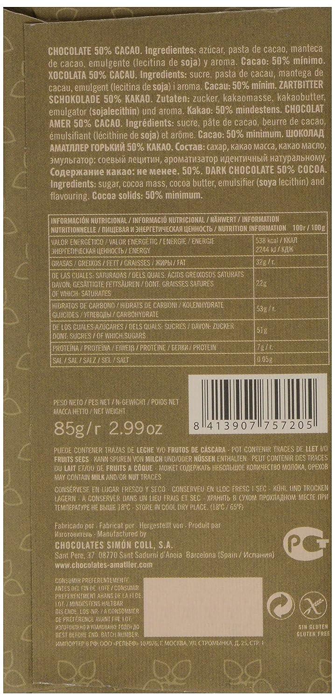 Chocolate Amatller - Tableta de chocolate (50% cacao) - 25 tabletas de 85 gr. (Total 2125 gr.): Amazon.es: Alimentación y bebidas