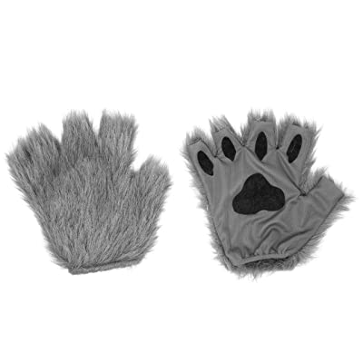 Gray Furry Cat, Dog, Bear, Wolf, Fox Paws Gloves Costume Accessory Set - One Size Fits Most: Clothing