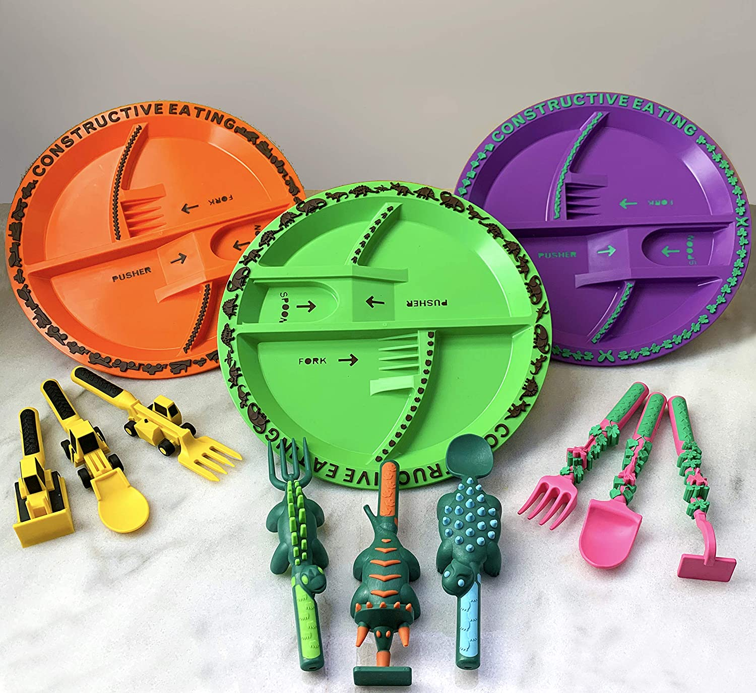 Constructive Eating Construction, Dinosaur, and Garden Fairy Combo with 3 Utensil Sets and 3 Plates for Toddlers, Infants, Babies and Kids - Made in The USA Using Materials Tested for Safety