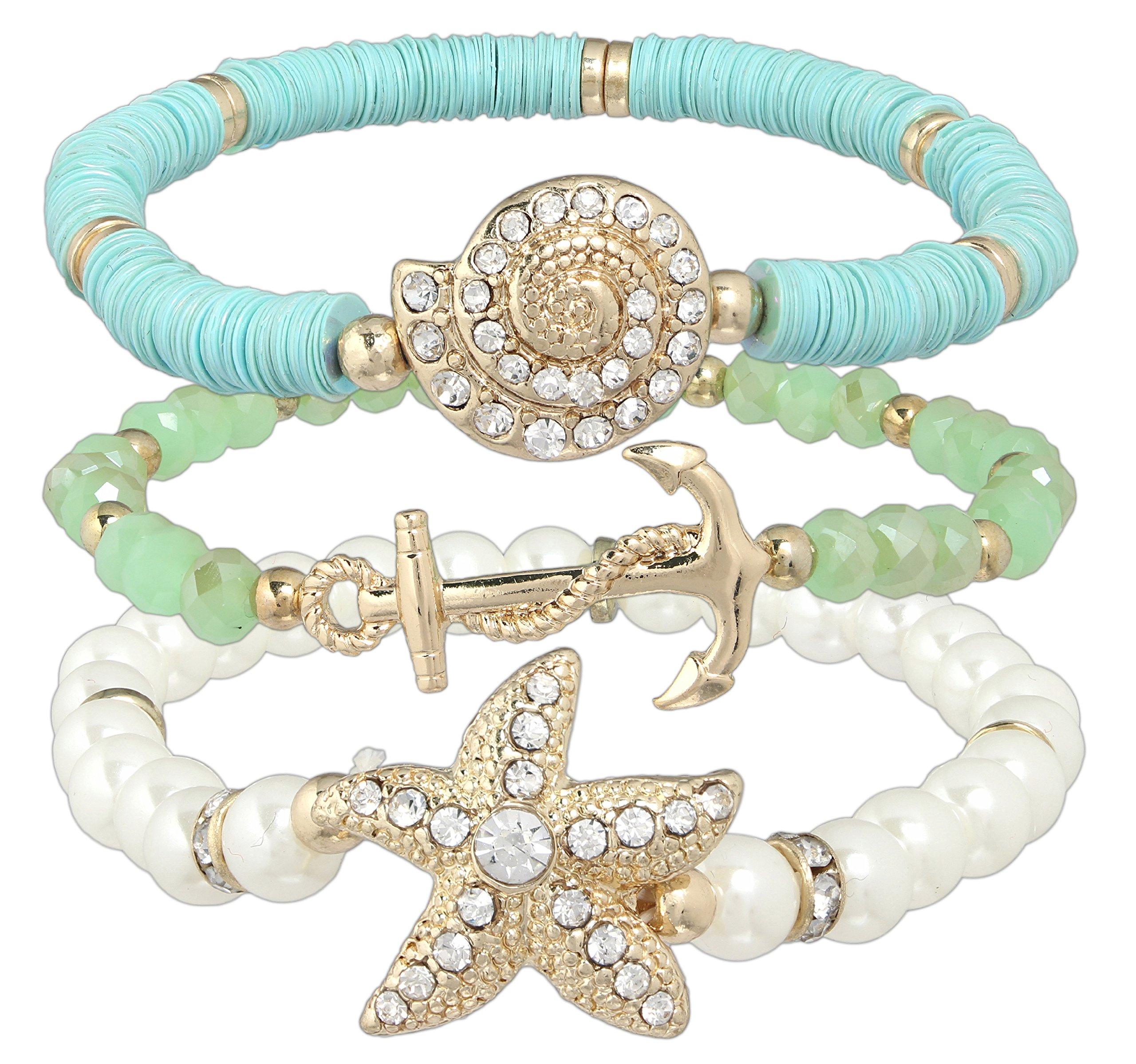 Rain 3 Piece Gold-plated Nautical Stretch Bracelet Set