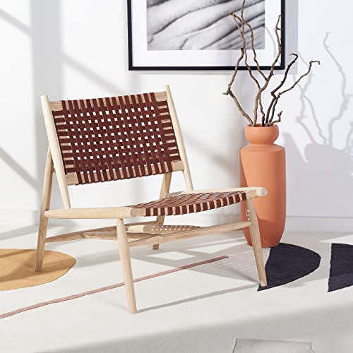Safavieh Home Collection Soleil Natural and Cognac Leather Woven Accent Chair