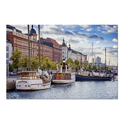 Helsinki, Finland - Boats Along Harbor 9026879 (Premium 1000 Piece Jigsaw Puzzle for Adults, 20x30, Made in USA!): Toys & Games