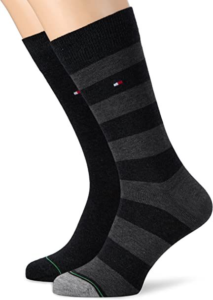 Mens 2 Pair Tommy Hilfiger Rugby Striped Cotton Socks