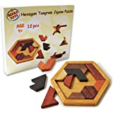 Mako Toys Brain Puzzles for Kids 4 Years Old, Tangram Jigsaw Puzzles, Wooden Puzzle Games, Toys for Children, 12 Piece