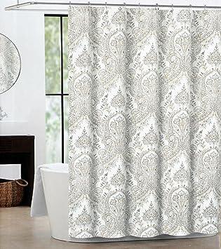 beige and gray shower curtain. Tahari Fabric Shower Curtain Gray Beige Paisley Medallion Pattern on Cream  Rustic Amazon com